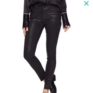 Paige Transcend luxe coated black skinny jeans 24